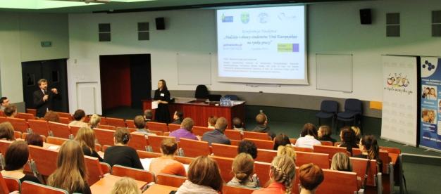 """Konferencja """"Nadzieje i obawy studentów Unii Europejskiej na rynku pracy"""", Politechnika Opolska"""